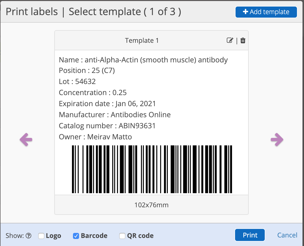 Barcode Labelling with Labguru