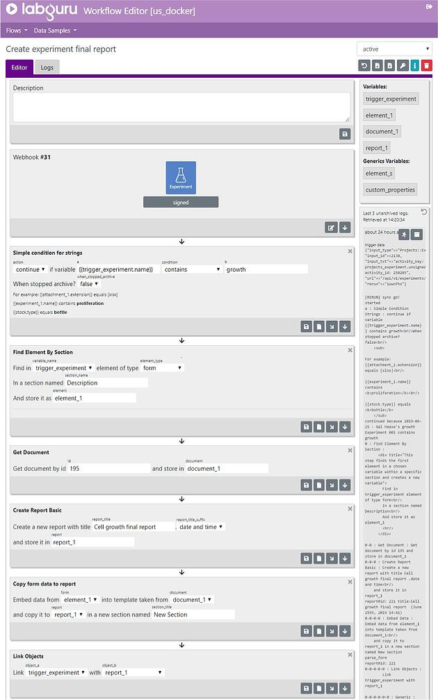 Labguru Workflow Editor